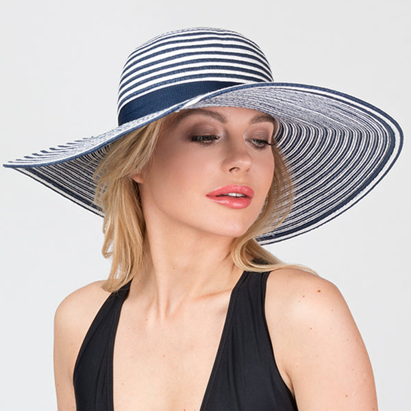 Pia Rossini Albany Hat Blue and White Stripe