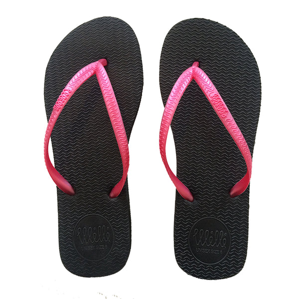 Black Flip Flop with Metallic Pink Strap Slim Fit