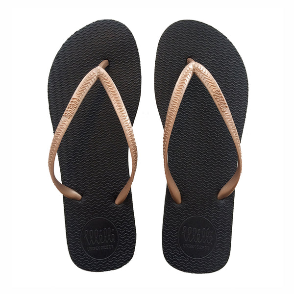 Black Flip Flop with Metallic Rose Gold Strap Slim Fit
