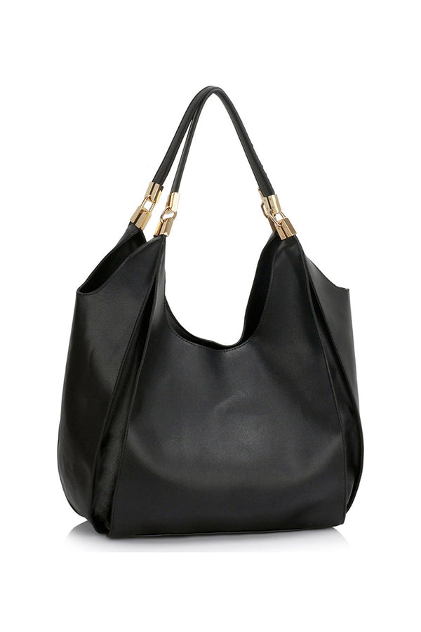 Black Faux Leather Hobo Bag