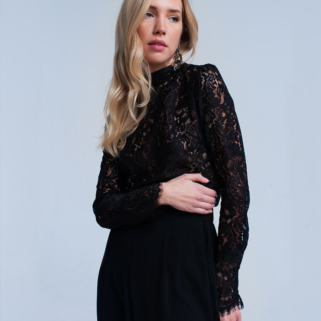 Black High Neck Lace Shirt