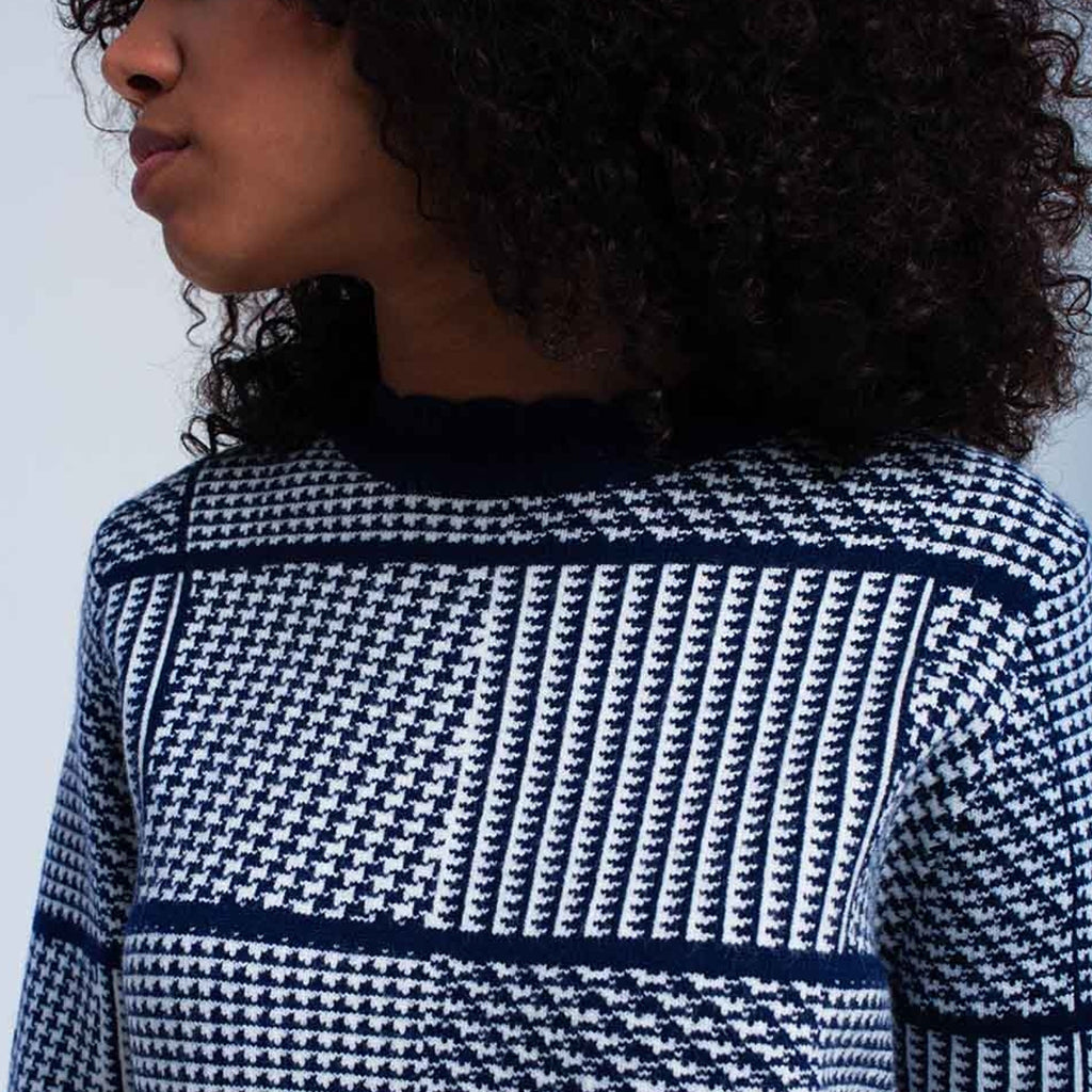 Navy Textured Print Sweater