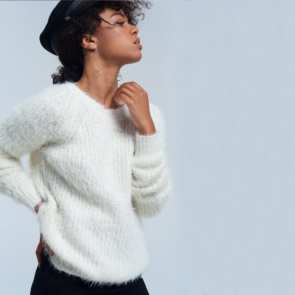 Cream Fluffy Knit Jumper