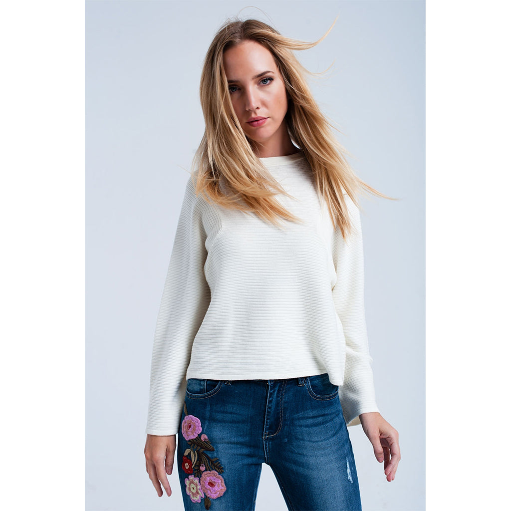 Cream Horizontal Ribbed Sweater
