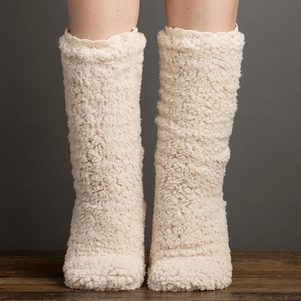 Double Shearling Slipper Socks Parchment