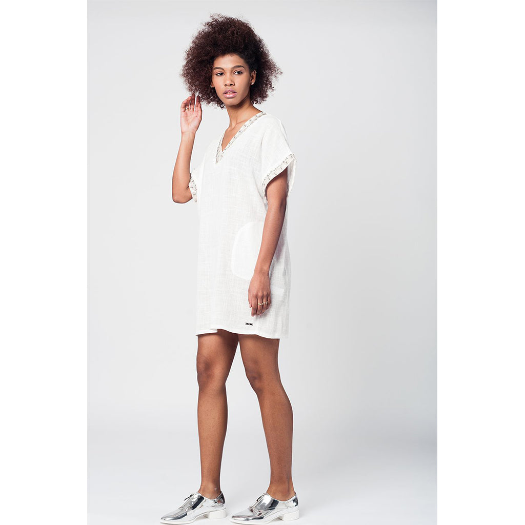 Embroidered Tunic Dress White