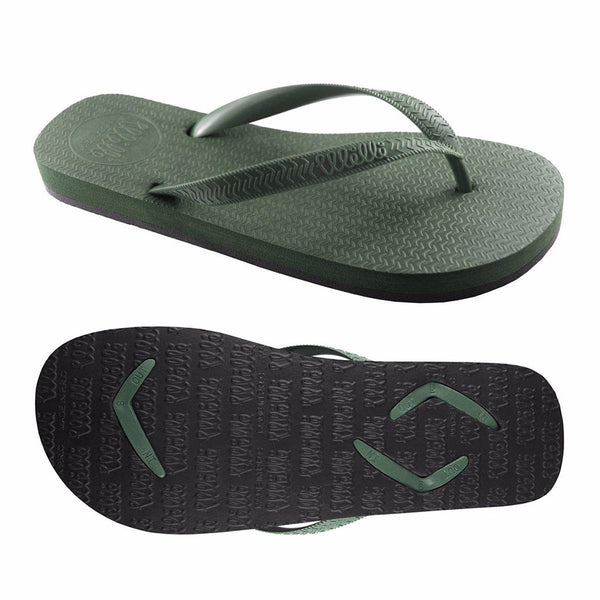 Men's Flip Flops Green with Green Strap