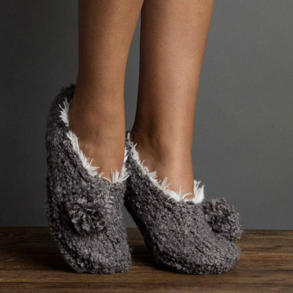Boucle Pom Bootie Slipper with Faux Fur Flannel