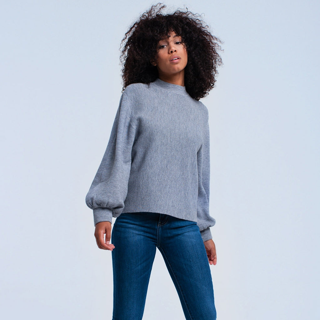 Grey Ribbed Cuff Sweater