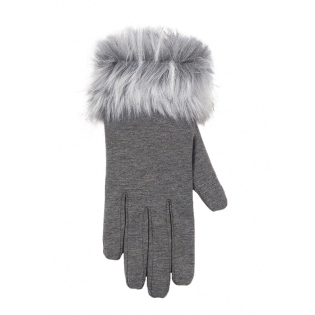 Grey fleece glove with faux fur trim