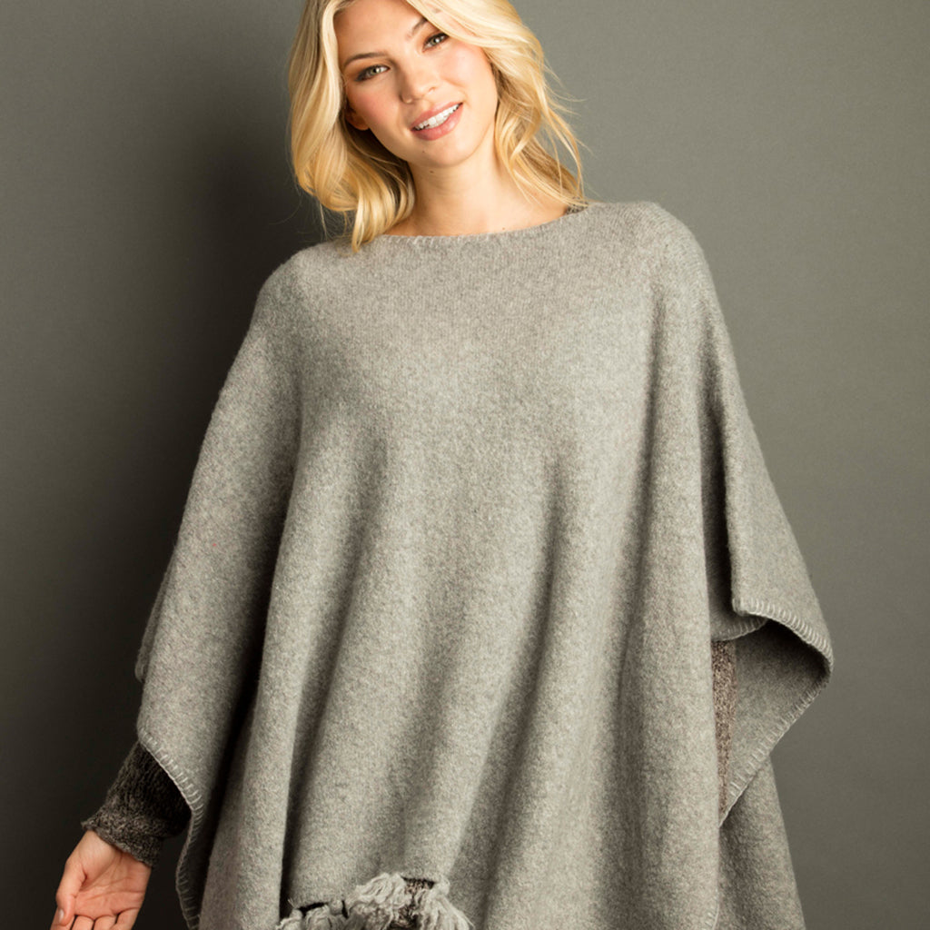 Marled Sponge Poncho Oxford Grey