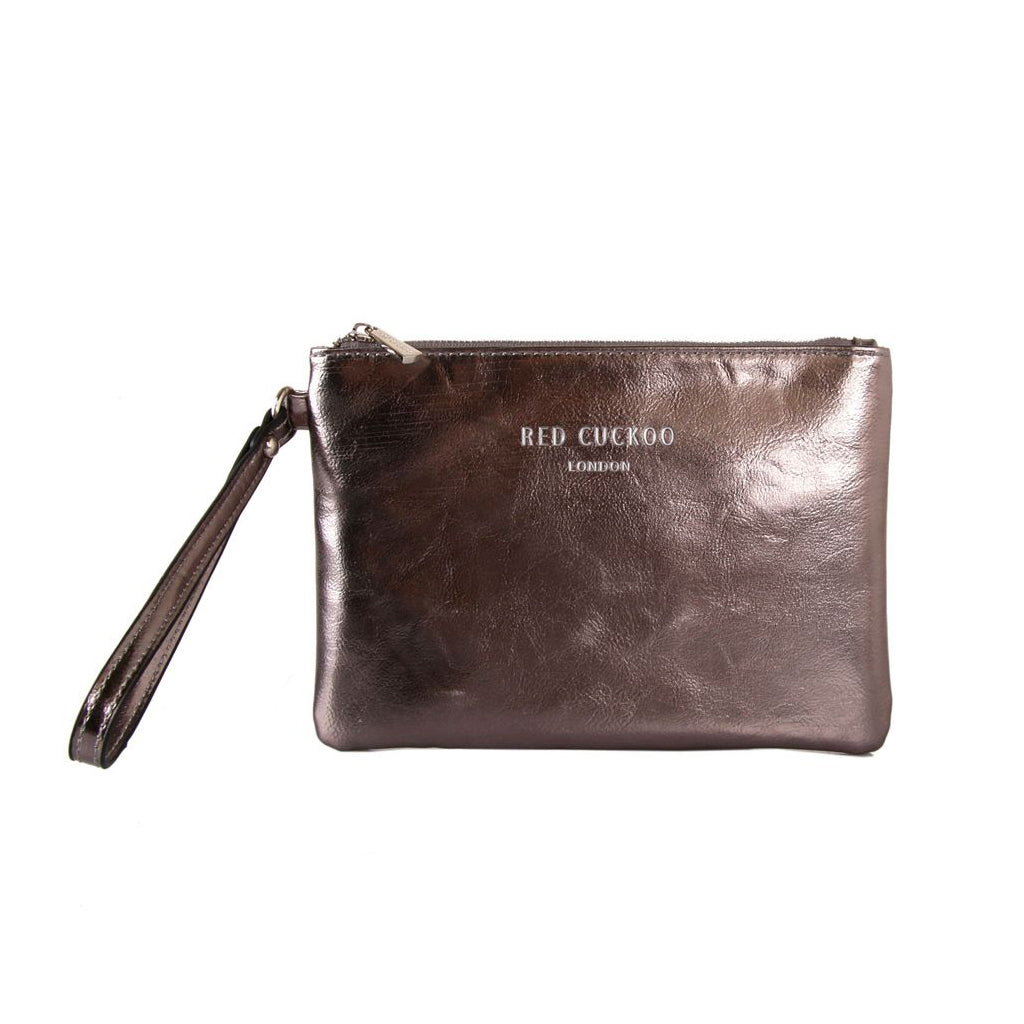 Metallic Pouch Clutch Bag Grey
