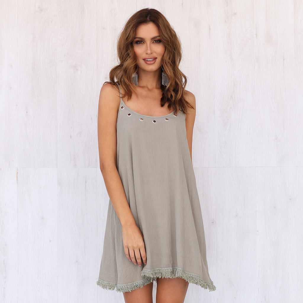 Lost In Lunar Harlow Swing Dress Khaki