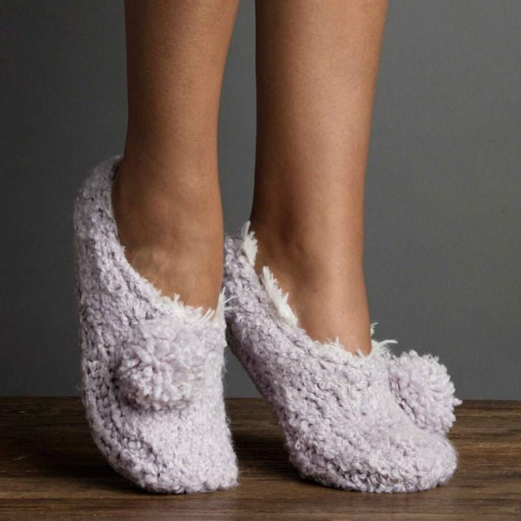 Boucle Pom Bootie Slipper with Faux Fur Lilac Ash