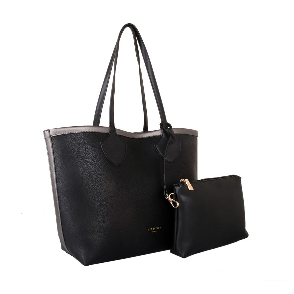 Metallic Trim Shopper Tote Bag
