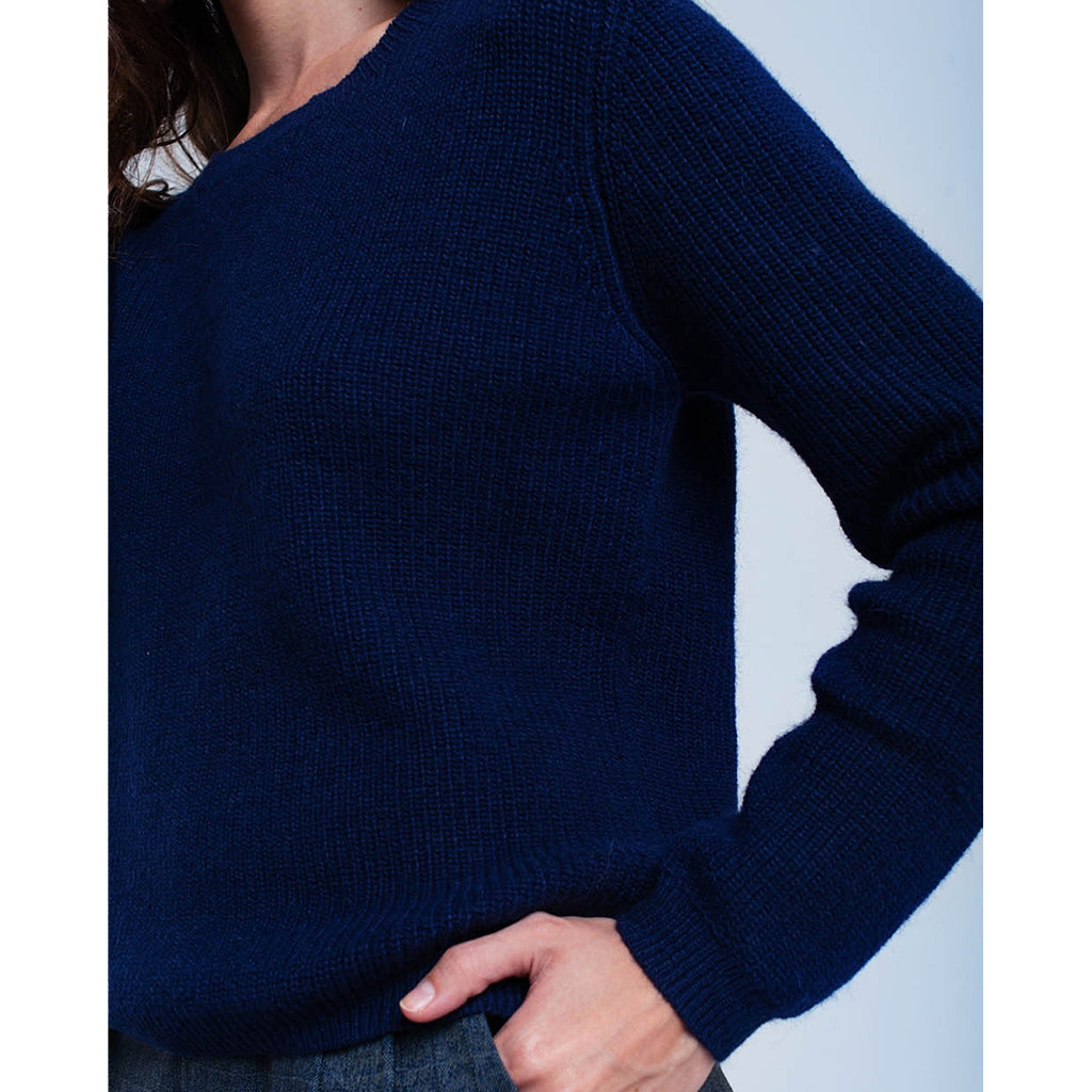 Navy Knitted Jumper with Black Ribbon