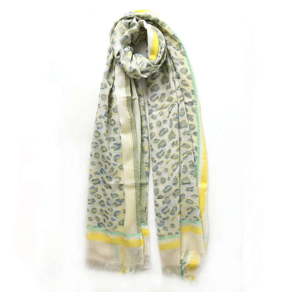 Blue and Yellow Leopard Print Scarf