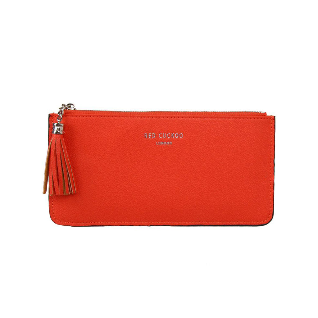 orange tassel purse