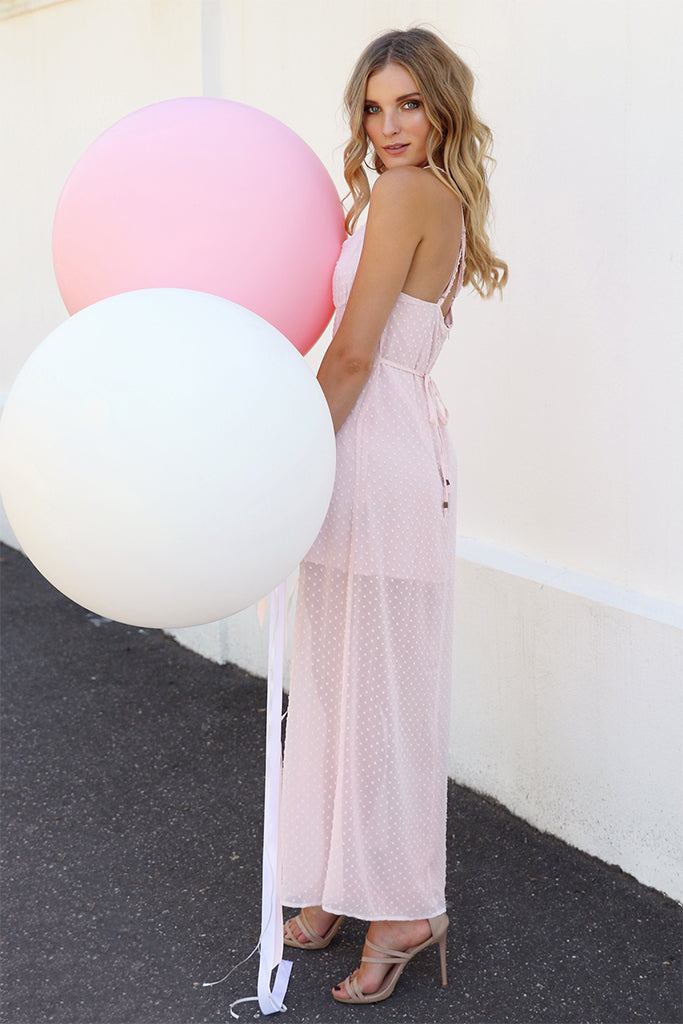 Madison Square Babydoll Maxi Dress Pink