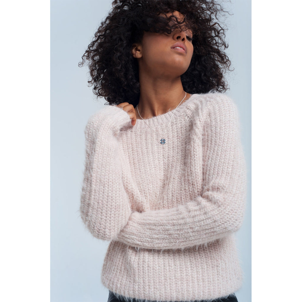 Pink Fluffy Knit Jumper