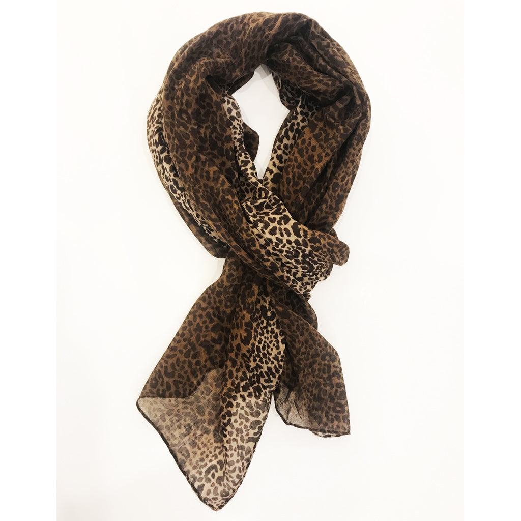 Leopard Print Scarf Brown