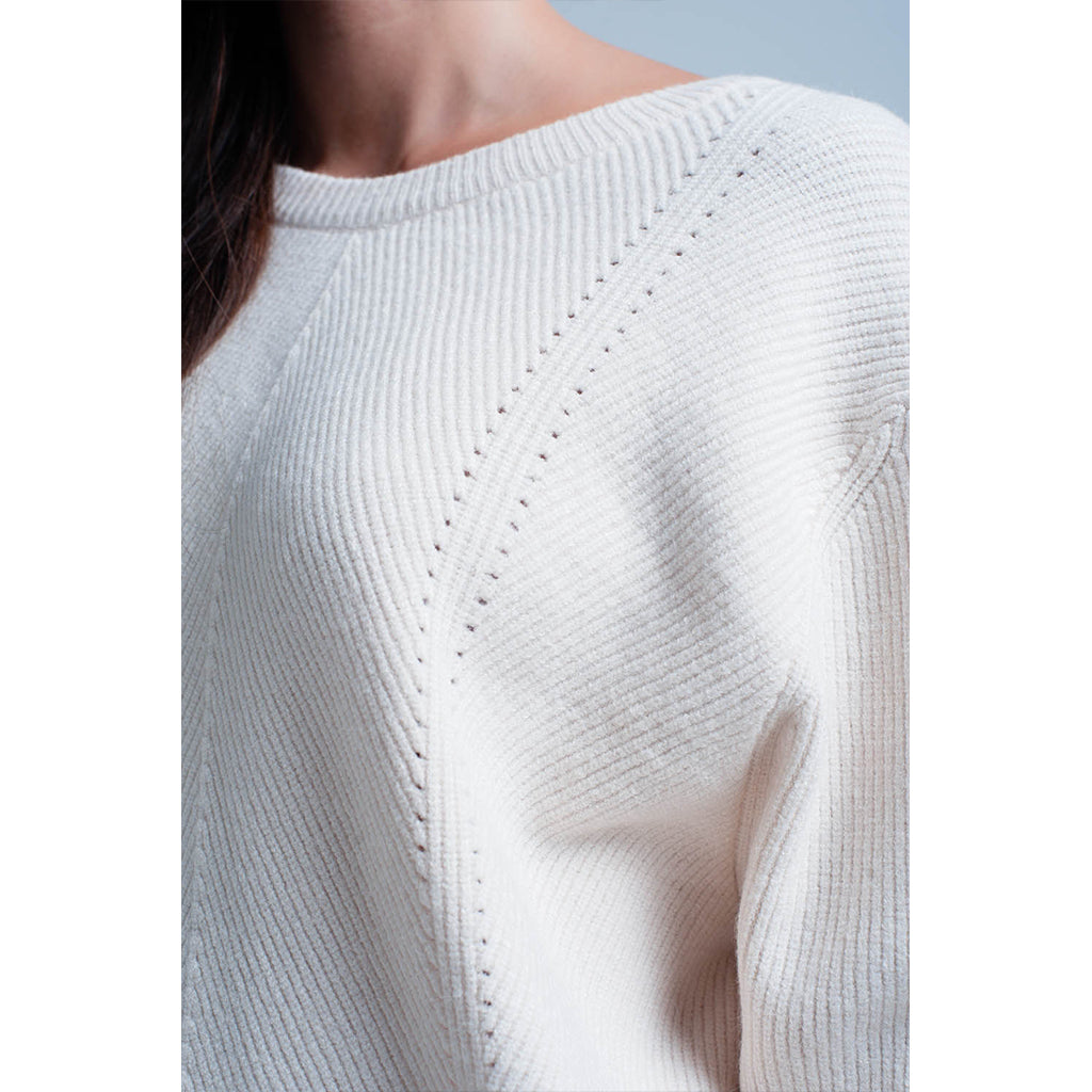 round neck cream jumper