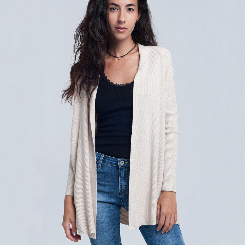Ribbed Cardigan Beige