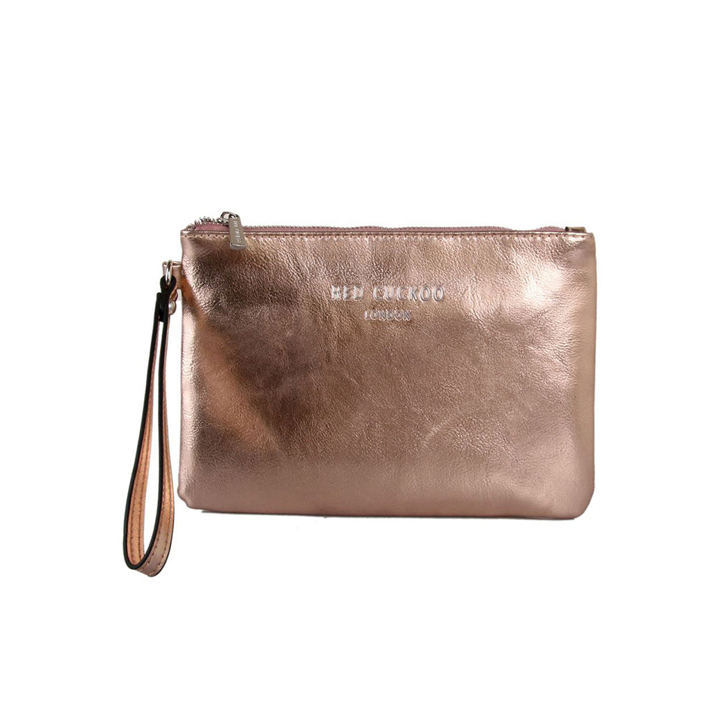 Metallic Pouch Clutch Bag Rose Gold