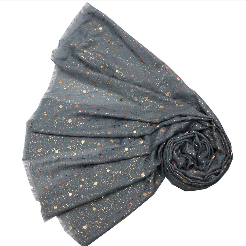 Rose Gold Splash Print Scarf Grey