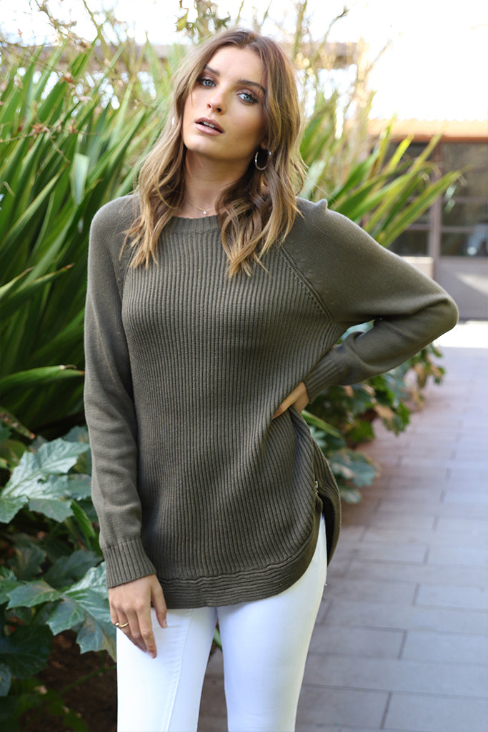 Lost in Lunar Sabine Knitted Jumper Khaki