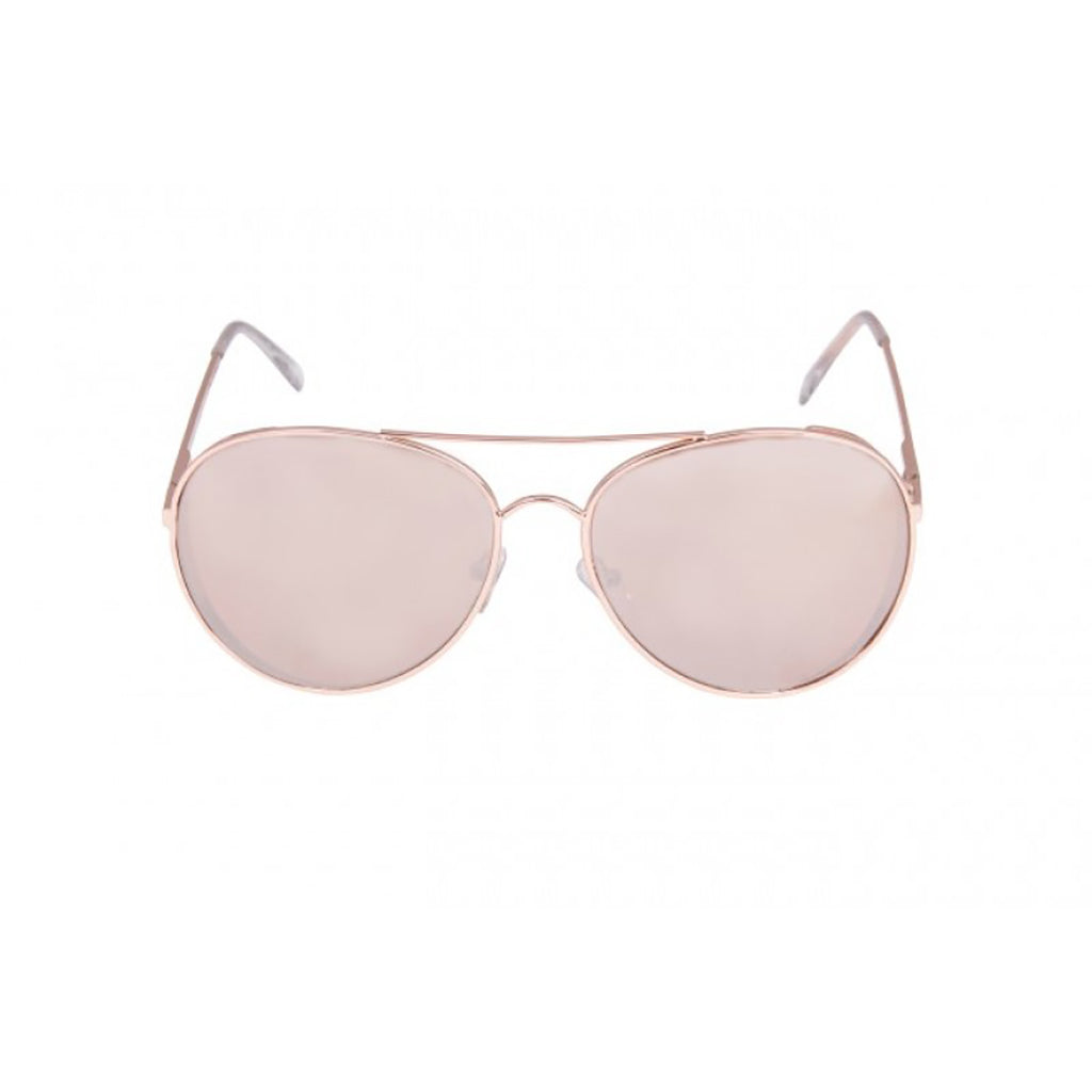 Reflective Mirror Aviator Sunglasses Rose Gold
