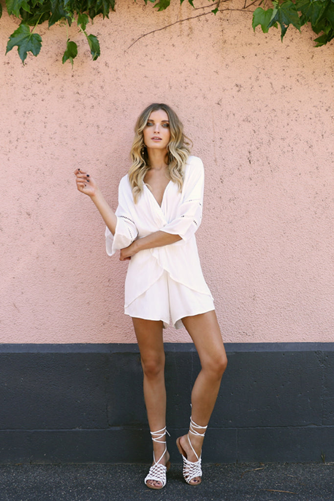 Lost in Lunar Cross My Heart Playsuit White