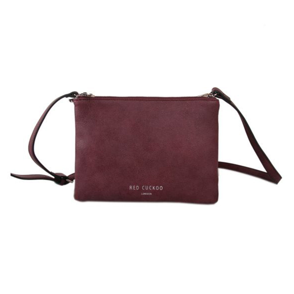 Wine Red Double Zipped Clutch Bag
