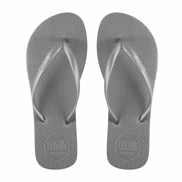 Grey Flip Flop with Metallic Grey Strap Slim Fit
