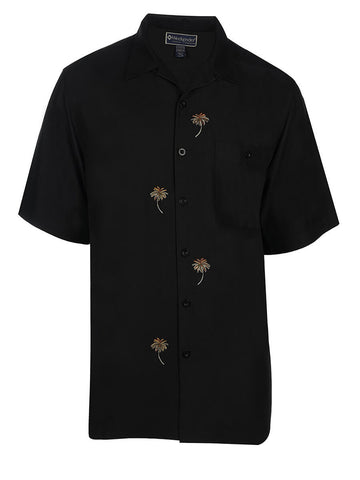 Men's Hawaiian Embroidery Shirt - Dancing With Palms