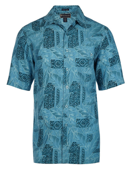 Men's Hawaiian Silk Cotton Print Shirt - Montego Bay