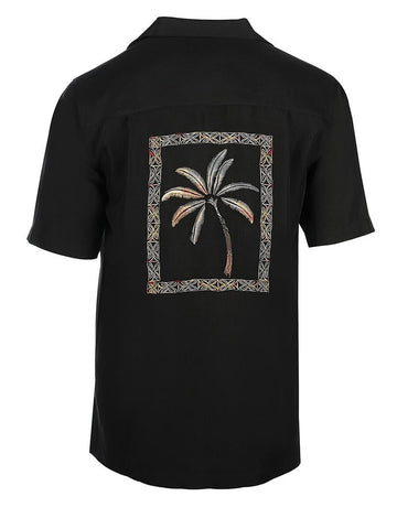 Men's Hawaiian Embroidery Shirt - Framed Palms