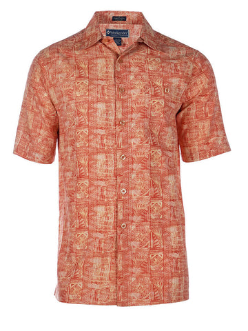 Men's Hawaiian Silk Cotton Print Shirt - Mariana