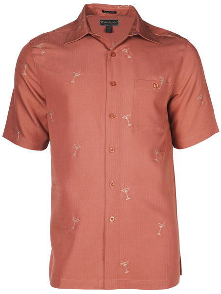 Men's Hawaiian Embroidery Shirt - Martini