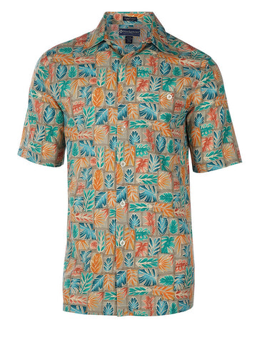 Men's Hawaiian Silk Cotton Print Shirt - Java Leaf