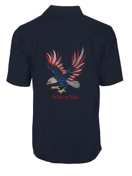 Men's Hawaiian Embroidery Shirt - Fly Like an Eagle