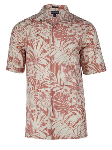 Men's Hawaiian Silk Cotton Print Shirt - Tropical Forest