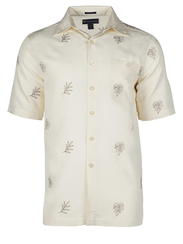 Men's Hawaiian Embroidery Shirt - Leaf Life
