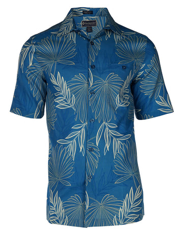 Men's Hawaiian Silk Cotton Print Shirt - Palm Branches