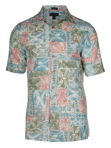 Men's Hawaiian Silk Cotton Print Shirt - Retreat