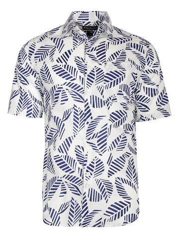 Men's Hawaiian Cotton Print Shirt - Striped Leaves