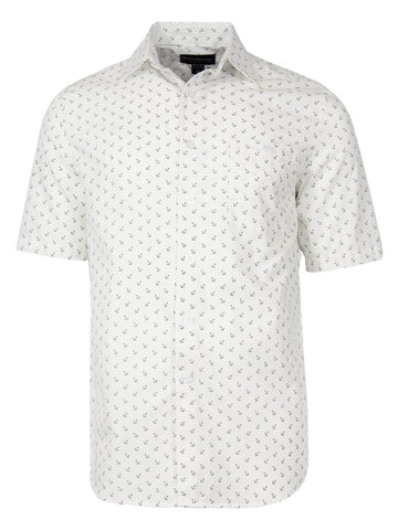 Men's Hawaiian Cotton Print Shirt - Anchors