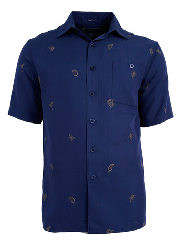 Men's Hawaiian Embroidery Shirt - Cocktails