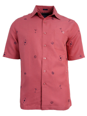Men's Hawaiian Embroidery Shirt - Casino