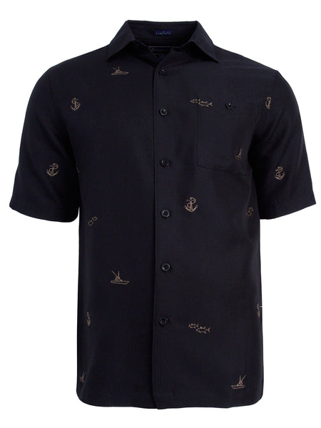 Men's Hawaiian Embroidery Shirt - Offshore